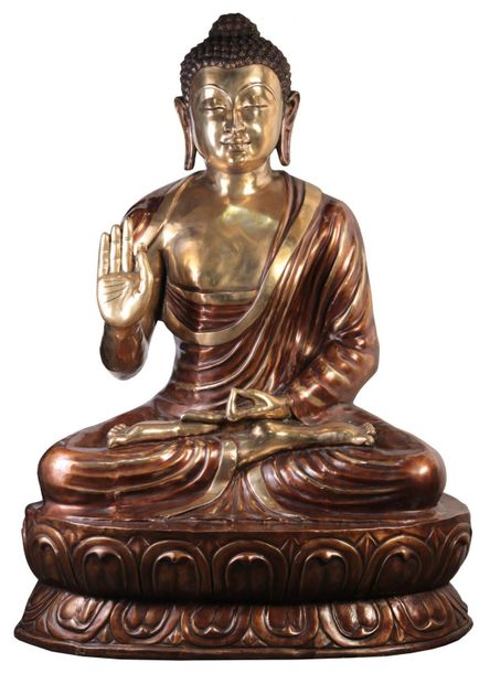Large Size Buddha in Preaching Mudra Tibetan Buddhist Seated atop a vast lotus f…