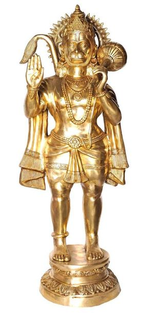 Large Size Hanuman in Abhaya mudra This 53 inches tall statue cast in brass but …