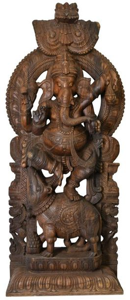 Super Large Size Dancing Ganesha In this matte finish wooden sculpture, Lord Gan…