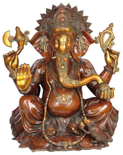 Specifications:  Brass Statue  28 inch x 23 inch x 12.5 inch   58.3 kg    This s…
