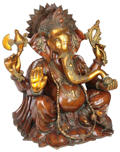 Large Size Four Armed Ganapati Specifications:  Brass Statue  28 inch x 23 inch …