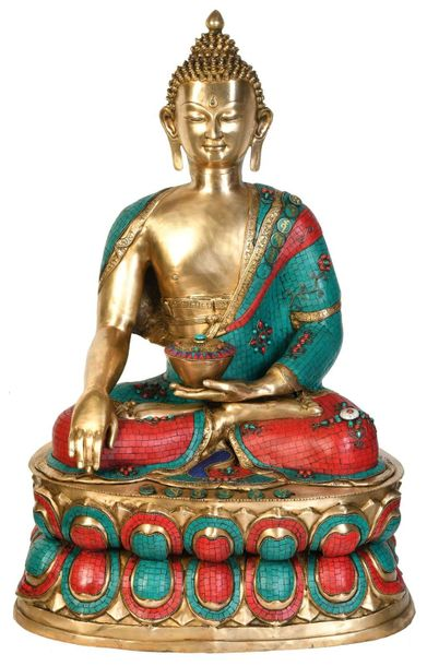 Large Size Buddha Invoking Mother Earth to be His Witness Specifications:  Brass…