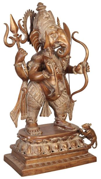 Specifications:  Brass Statue  28.5 inch x 17.5 inch x 10.0 inch   32.7 kg    A …