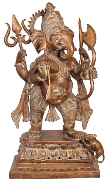 The Invincible Yuddha Ganapati Specifications:  Brass Statue  28.5 inch x 17.5 i…