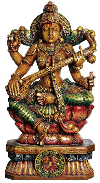 Large Size Goddess Saraswati Playing on Vina Specifications:  South Indian Templ…
