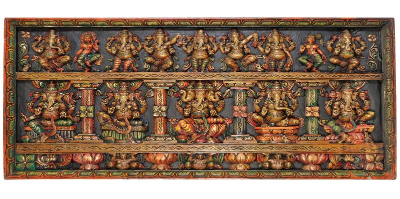 Dancing Lord Ganesha Panel with Five Manifestations of Ganesha Specifications:  …