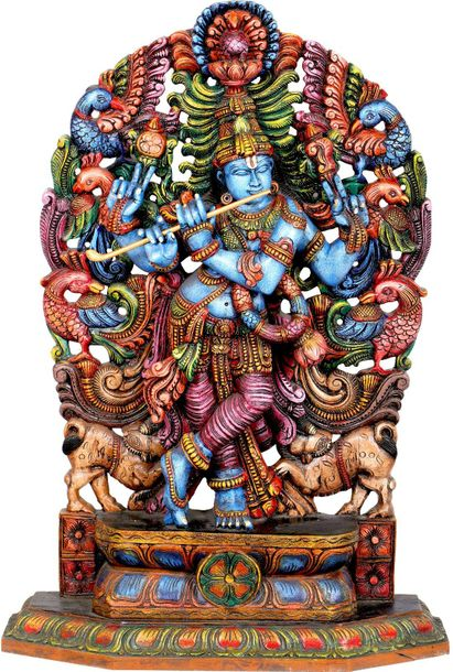 Large Size Cosmic Krishna With Aureole Made of Peacocks Lord Krishna is one of t…