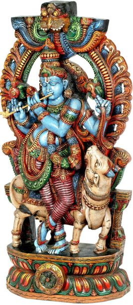 Large Size Venugopala (Krishna with His Cow) Specifications:  South Indian Templ…