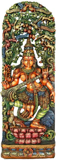 Dancing Saraswati Playing on Her Veena Large size Specifications:  South Indian …