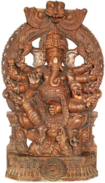 Large Eight Armed Ganesha With Large Kirtimukha Atop Specifications:  South Indi…