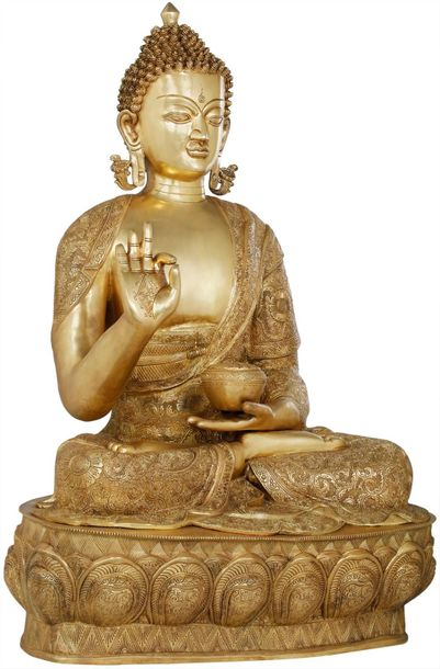 The Gracious Buddha, Clad In A Luxuriant Robe A calming image of the padmasana B…