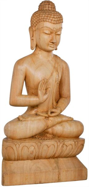 Tibetan Buddhist Blessing Buddha Specifications:  Gambhar Wood Sculpture from Bo…