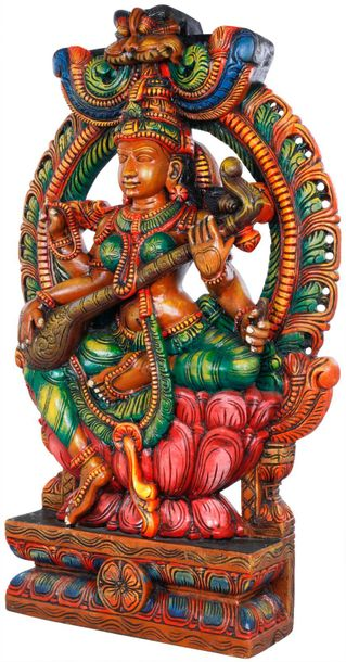 Goddess Saraswati Seated on Lotus An epitome of beauty and knowledge, Goddess Sa…