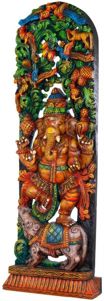 Chaturbhuja Dancing Ganesha with Arched Shaped Vegetative Aureole Painted in the…