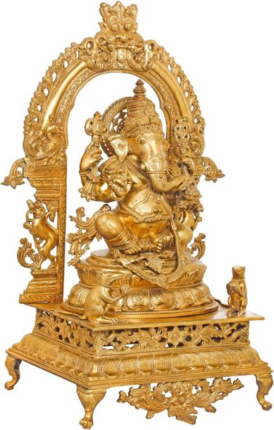 The Splendour Of Lord Ganesha, Seated Under A Kirtimukha Aureole This bronze Lor…