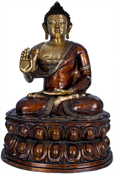 Large Size Preaching Buddha Seated on Double Lotus Tibetan Buddhist This is a br…