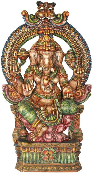 Large Ganesha Seated On Lotus Throne with Large Kirtimukha Floral Aureole Specif…