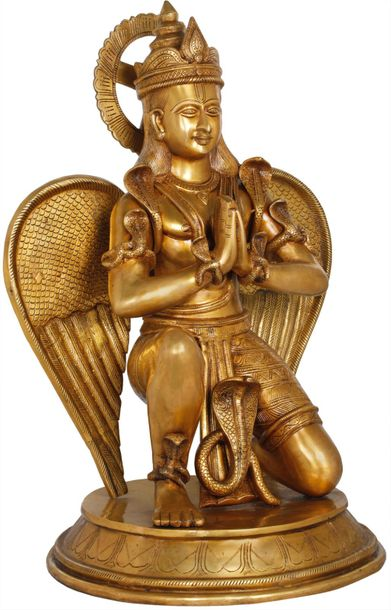 Large Namaste Garuda Adorned with Snakes Garuda is a legendary bird or bird like…