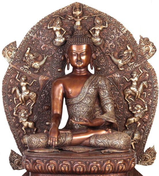 Buddha In Bhumisparsha Mudra, Seated On The Mystical Throne Of Enlightenment The…
