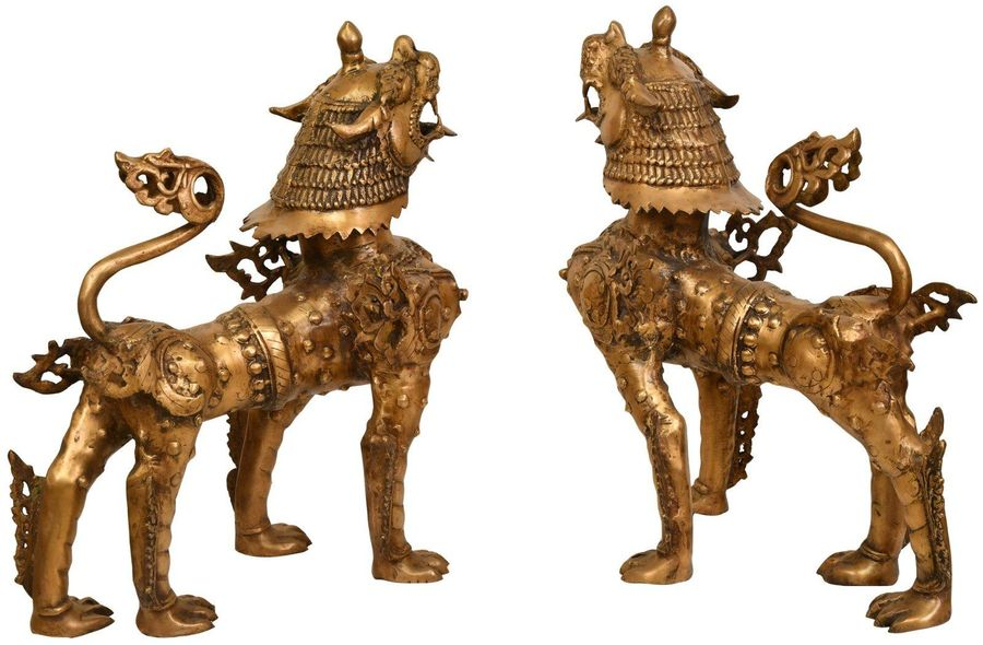 Tibetan Buddhist Large Size Pair of Mythicised Lions Specifications:  Brass Scul…