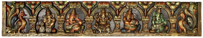 Musical Ganesha Large Size Panel Specifications:  South Indian Temple Wood Carvi…