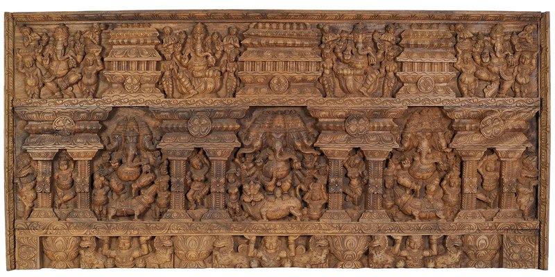 Detailed Ganesha Panel Specifications:  South Indian Temple Wood Carving  35.5 i…