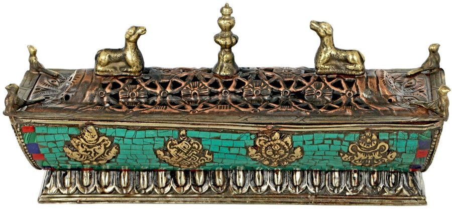 Tibetan Buddhist Incense Burner From Nepal with auspicious Symbols Specification…