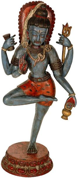 """Blessing Shiva in a Yogic Posture Specifications:  Wood Sculpture  20.0"""" X 9.0"""" …"""