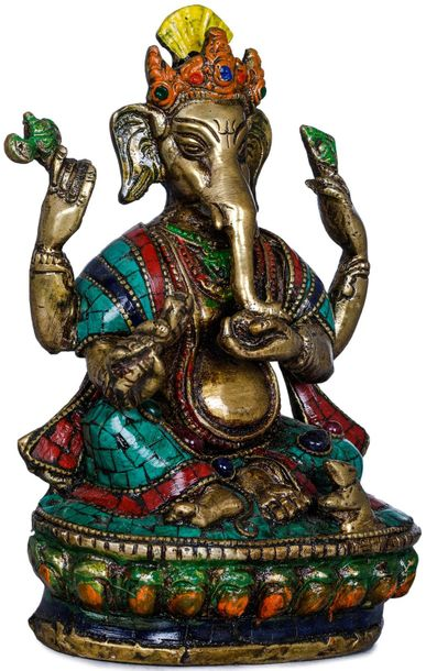 Inlay Statue Of Ganesha in Nepalese Style Although known for its portly figure, …