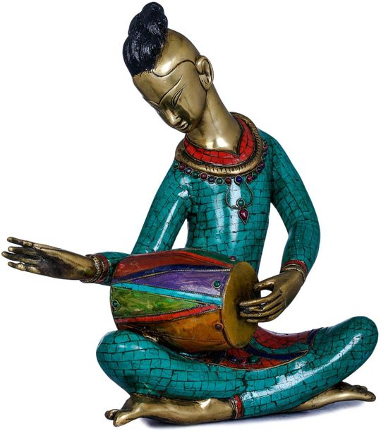 Musician Playing Dholaka (Drum) This is a brass statue of a musician playing dho…