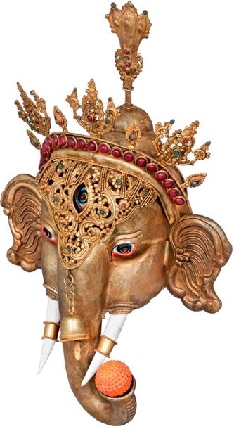 The Glory Of Lord Ganesha, Wall Hanging Mask Made in Nepal Ganesha, the god of b…