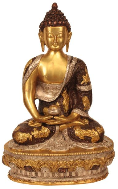 Buddha in Dhyana Mudra (Meditation) On a lotus base, the Buddha is seated in med…