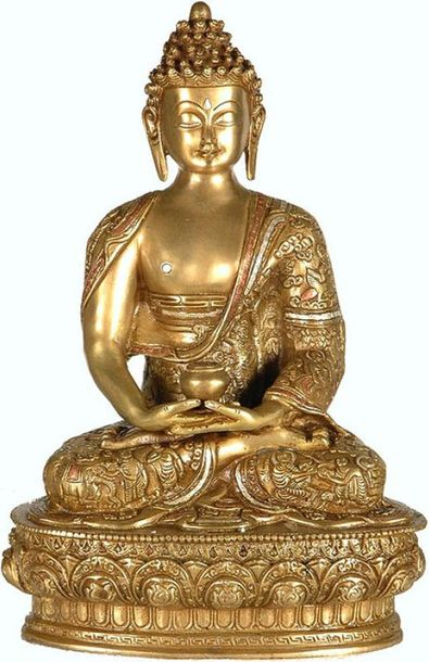 On a lotus base, the Buddha is seated in meditation in the classic yogic posture…