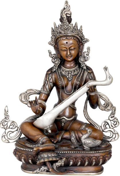 Goddess Saraswati Made in Nepal Nepal's art form has an iconography of pointed c…