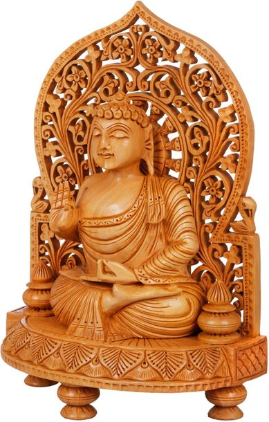 The Buddha is steeped in dhyana. His poorna padmasana causes His robe to gather …