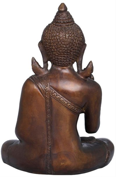 Carved in an amalgamation of ancient and royal color combination, this Buddha st…