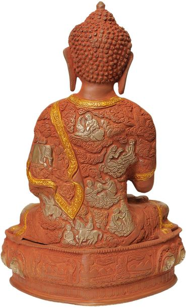 Tibetan Buddha In Terracotta Finish, Robes Embossed With Scenes From His Life Te…