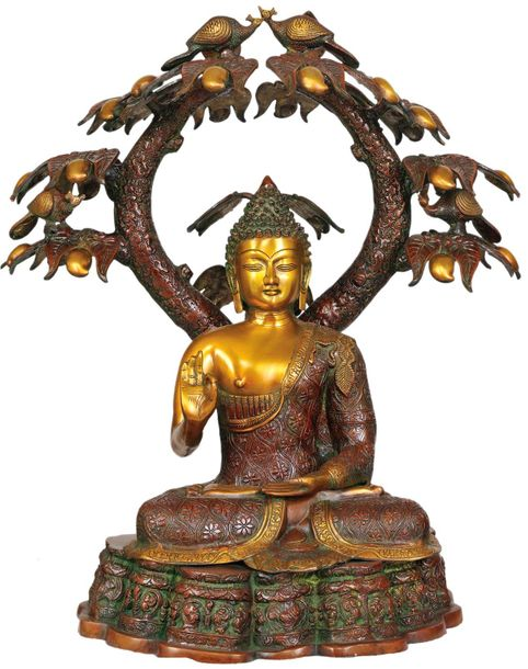 Large Size Buddha in Abhaya and Vitark Mudra A magnificent brass piece with rare…
