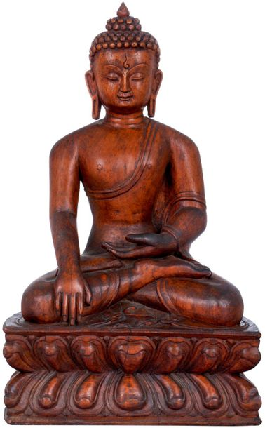 A Fine Wood Carving Of Lord Buddha From Nepal (Tibetan Buddhist) Specifications:…