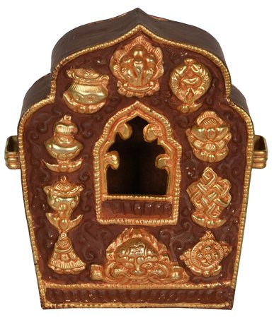 Made in Nepal Tibetan Buddhist Gau Box (Portable Shrine) A Gau is a Tibetan Budd…