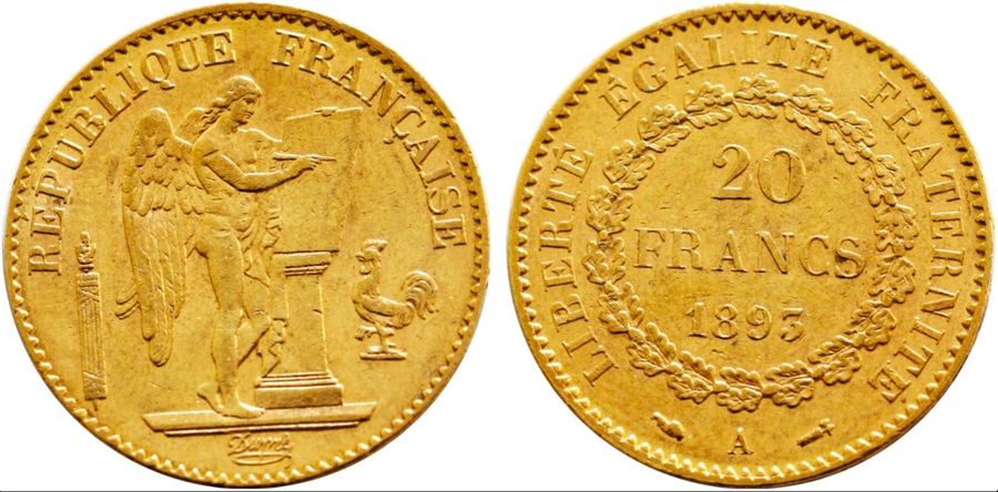France. Republic gold 20 Francs 1893 A, KM 825. ( 6.4gm ). Near Mint State.