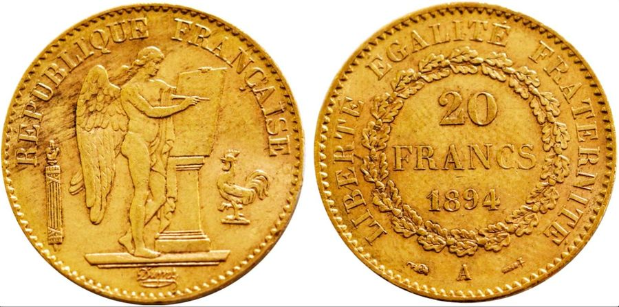 France. Republic gold 20 Francs 1894 A, KM 825. ( 6.4gm ). Low mintage date. Nea…