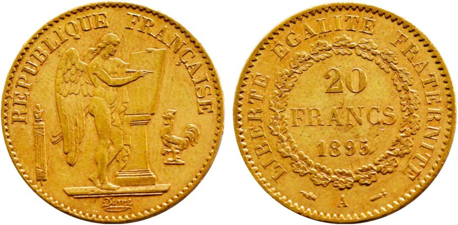 France. Republic gold 20 Francs 1895 A, KM 825. ( 6.4gm ). Near Mint State.