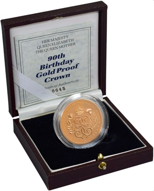 "Great Britain. Elizabeth II gold Proof ""90th Birthday"" 5 Pounds 1990, KM 962b. (…"
