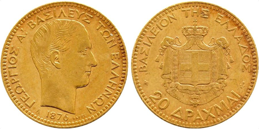 Greece. George I gold 20 Drachmai 1876 A, KM 49. ( 6.4gm ). Near Mint State.