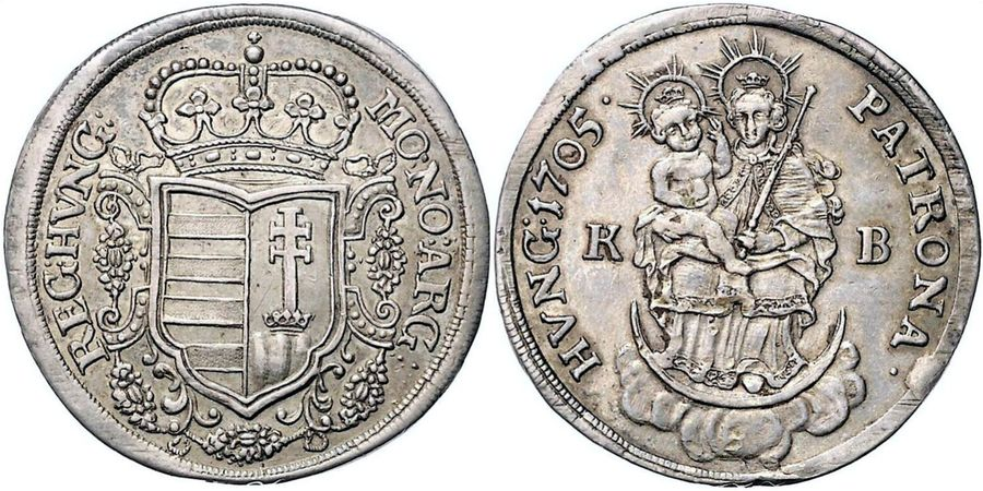 Hungary: Revolt of the Malcontents silver 1/2 Taler 1705 KB, KM 265.1. ( 14.1gm …