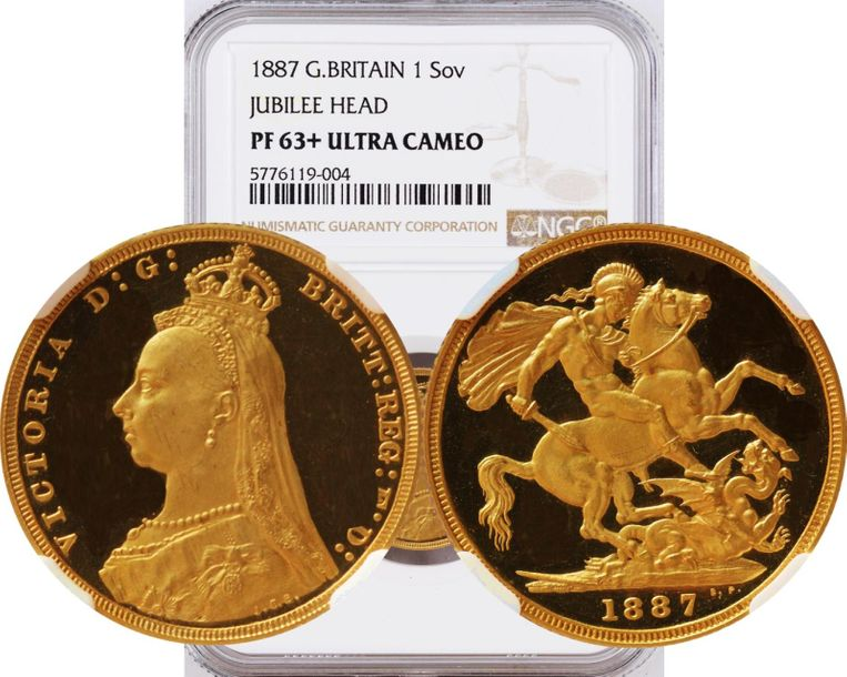 Great Britain. Victoria gold Proof Sovereign 1887, KM 767, S 3866B. NGC PR63+Ult…