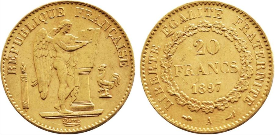 France. Republic gold 20 Francs 1897 A, KM 825. ( 6.4gm ). Near Mint State.