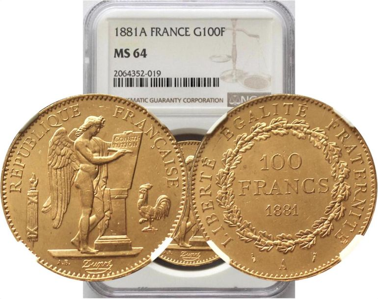 France. Republic gold 100 Francs 1881 A, KM 832. NGC MS64. Rare in this certifie…