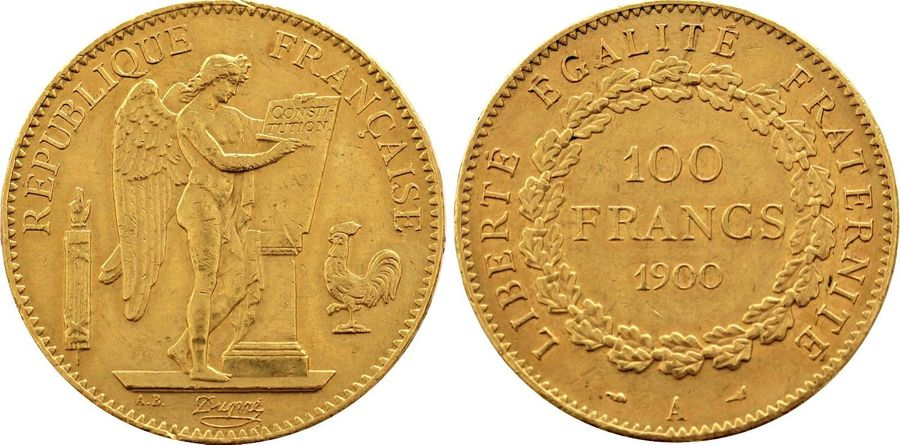 France. Republic gold 100 Francs 1900 A, KM 832. ( 32.2gm ). Near Mint State.